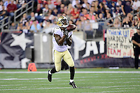 Thursday August 11, 2016: New Orleans Saints running back Marcus Murphy (23) bobbles a punt return during an NFL pre-season game between the New Orleans Saints and the New England Patriots held at Gillette Stadium in Foxborough Massachusetts. The Patriots defeat the Saints 34-22 in regulation time. Eric Canha/CSM