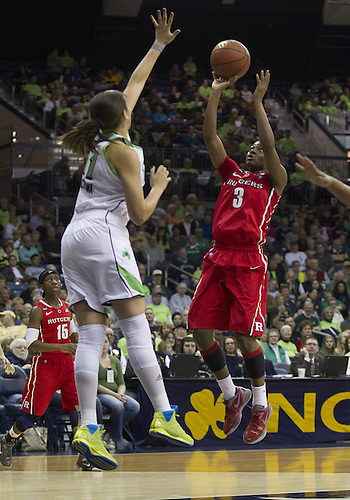 January 13, 2013:  Rutgers guard Erica Wheeler (3) goes up for a shot as Notre Dame forward Natalie Achonwa (11) defends during NCAA Basketball game action between the Notre Dame Fighting Irish and the Rutgers Scarlett Knights at Purcell Pavilion at the Joyce Center in South Bend, Indiana.  Notre Dame defeated Rutgers 71-46.