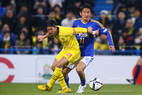 (L-R)<br /> Daisuke Suzuki (Reysol),<br /> Hidetaka Kanazono (Vegalta),<br /> MARCH 13, 2015 - Football / Soccer : <br /> 2015 J1 League 1st stage match between<br /> Kashiwa Reysol 1-1 Vegalta Sendai<br /> at Hitachi Kashiwa Stadium in Chiba, Japan.<br /> (Photo by Shingo Ito/AFLO SPORT)