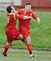 Albion's John Gemmell (right) assaults team mate Steven Canning (8) as he celebrates after scoring the first .....