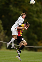 The MetroStars' Seth Stammler and Nate Jaqua of the Fire go for a header. The MetroStars defeated the Chicago Fire 2-0 during the inaugural Hall of Fame game on Monday October 11, 2004 at At-A-Glance Field at the National Soccer Hall of Fame and Museum, Oneonta, NY..