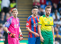 From left: Crystal Palace Vincente Guaita; Martin Kelly and Norwich City Marco Stiepermann during the Premier League match between Crystal Palace and Norwich City at Selhurst Park, London, England on 28 September 2019. Photo by Andrew Aleksiejczuk / PRiME Media Images.