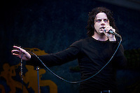 Jack White of The Dead Weather performing in the rain on the Gentilly Stage on Day 7 at the New Orleans Jazz and Heritage Festival at the New Orleans Fair Grounds Race Course in New Orleans, Louisiana, USA, 2 May 2010.