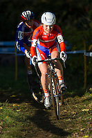 03 NOV 2012 - IPSWICH, GBR - Sanne van Paassen (NED) (right) of the Netherlands leads Helen Wyman (GBR) (left) of Great Britain during the Elite Women's European Cyclo-Cross Championships in Chantry Park, Ipswich, Suffolk, Great Britain .(PHOTO (C) 2012 NIGEL FARROW)