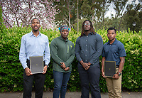 From left, Jacques Lesure '19, Javion Tinsley '20, John Gayden '22 and Rahsaan Middleton '19.<br /> Photo taken April 30, 2019 outside Lower Herrick.<br /> (Photo by Marc Campos, Occidental College Photographer)