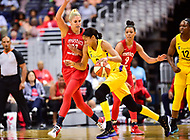 Washington, DC - June 15, 2018: Los Angeles Sparks forward Candace Parker (3) guarded by Washington Mystics guard Elena Delle Donne (11) during game between the Washington Mystics and Los Angeles Sparks at the Capital One Arena in Washington, DC. (Photo by Phil Peters/Media Images International)