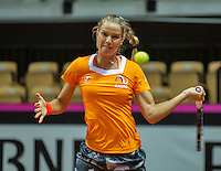 13 April, 2016, France, Trélazé, Arena Loire,   Semifinal FedCup, France-Netherlands, Dutch team practise, doubles,  Arantxa Rus <br /> Photo: Henk Koster/tennisimages