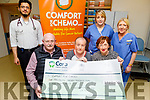 Thomas and Eileen O'Connor present the sum of €1,700 to Comfort for Chemo from the Hedley's Bridge Crib at the Chemo Unit in UHK on Thursday.<br /> Seated l to r: Thomas and Eileen O'Connor and Mary Fitzgerald (Comfort for Chemo).<br /> Back l to r: Danial Khan Hadi, Mairead O'Connor and Fiona Searls