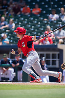 Springfield Cardinals infielder Evan Mendoza (4) connects on a pitch on May 19, 2019, at Arvest Ballpark in Springdale, Arkansas. (Jason Ivester/Four Seam Images)