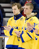 Peter Andersson (Sweden - 6), Robin Lehner - Team Sweden celebrates after defeating Team Switzerland 11-4 to win the bronze medal in the 2010 World Juniors tournament on Tuesday, January 5, 2010, at the Credit Union Centre in Saskatoon, Saskatchewan.