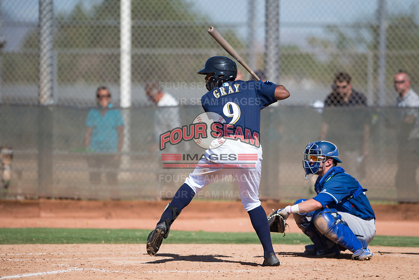 Milwaukee Brewers center fielder Joe Gray (9) at bat in front of catcher Tre Todd (44) during an Instructional League game against the Los Angeles Dodgers at Maryvale Baseball Park on September 24, 2018 in Phoenix, Arizona. (Zachary Lucy/Four Seam Images)