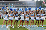 12 September 2015: UNC cheerleaders. The University of North Carolina Tar Heels hosted the North Carolina A&T State University Aggies at Kenan Memorial Stadium in Chapel Hill, North Carolina in a 2015 NCAA Division I College Football game.