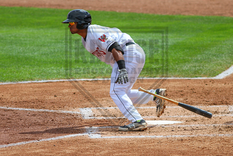 APPLETON - August 2014: Chris McFarland (7) of the Wisconsin Timber Rattlers during a game against the Beloit Snappers on August 26th, 2014 at Fox Cities Stadium in Appleton, Wisconsin.  (Photo Credit: Brad Krause)
