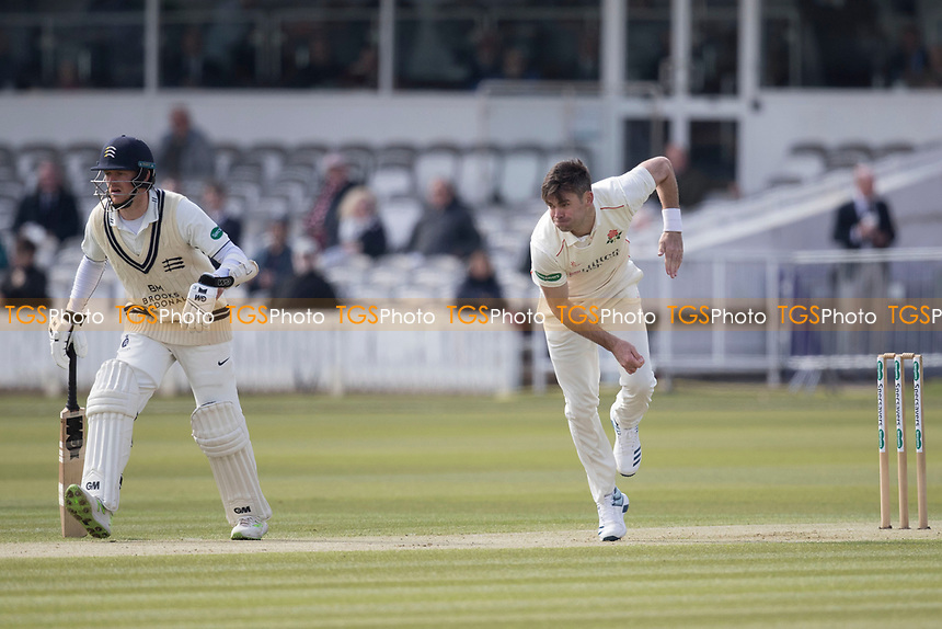 James Anderson of Lancashire CCC   following through during Middlesex CCC vs Lancashire CCC, Specsavers County Championship Division 2 Cricket at Lord's Cricket Ground on 11th April 2019