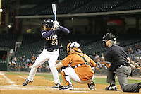 Rice Owl Abe Gonzales against the Texas Longhorns on Friday March 5th, 2100 at the Astros College Classic in Houston's Minute Maid Park.  (Photo by Andrew Woolley / Four Seam Images)