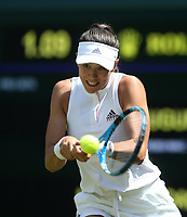Garbine Muguruza (ESP) in action during her match against Naomi Broady (GBR)<br /> <br /> Photographer Rob Newell/CameraSport<br /> <br /> Wimbledon Lawn Tennis Championships - Day 2 - Tuesday 3rd July 2018 -  All England Lawn Tennis and Croquet Club - Wimbledon - London - England<br /> <br /> World Copyright &not;&uml;&not;&copy; 2017 CameraSport. All rights reserved. 43 Linden Ave. Countesthorpe. Leicester. England. LE8 5PG - Tel: +44 (0) 116 277 4147 - admin@camerasport.com - www.camerasport.com
