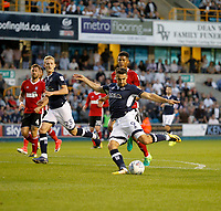 Millwall's Lee Gregory lines up a shot during the Sky Bet Championship match between Millwall and Ipswich Town at The Den, London, England on 15 August 2017. Photo by Carlton Myrie.