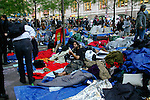 Protester lays on blanket at the Occupy Wall Street Protest in New York City October 6, 2011.