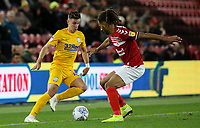 Preston North End's Josh Harrop takes on Middlesbrough's Ryan Shotton<br /> <br /> Photographer Alex Dodd/CameraSport<br /> <br /> The EFL Sky Bet Championship - Middlesbrough v Preston North End - Tuesday 1st October 2019  - Riverside Stadium - Middlesbrough<br /> <br /> World Copyright © 2019 CameraSport. All rights reserved. 43 Linden Ave. Countesthorpe. Leicester. England. LE8 5PG - Tel: +44 (0) 116 277 4147 - admin@camerasport.com - www.camerasport.com