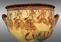 "Large wine krater known as ""House of the Warrior Vase"", showing men in full armour ( helmet, cuirass, greaves, shield and spear ) as they depart fro war with a sack of supplies hanging from their spears. A fine example of Mycenaean Pictoral Style. Mycenae acropolis, Greece. 12th century BC, cat no: 1426 ,  National Archaeological Museum, Athens."