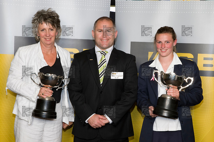 Mrs Bell, Mark Hayward & Anna Green. ASB College Sport Young Sportperson of the Year Awards 2008 held at Eden Park, Auckland, on Thursday November 13th, 2008.