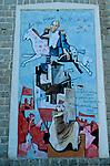 Italie. Italia. Sardaigne. Sardinia.Peintures murales (murales) politiques  dans les rues du village de d'Orgosolo. Silvio Berlusconi,  caricature de premier ministre italien
