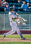 5 September 2016: Vermont Lake Monster catcher Sean Murphy hits an RBI single in the 8th inning against the Lowell Spinners at Centennial Field in Burlington, Vermont. The Lake Monsters defeated the Spinners 9-5 to close out their 2016 NY Penn League season. Mandatory Credit: Ed Wolfstein Photo *** RAW (NEF) Image File Available ***