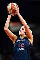 Washington, DC - July 30, 2019: Washington Mystics forward Elena Delle Donne (11) connects on a three point basket late in the 4th quarter of game between the Phoenix Mercury and the Washington Mystics at the Entertainment & Sports Arena in Washington, DC. The Mystics defeated the Mercury 99-93. (Photo by Phil Peters/Media Images International)