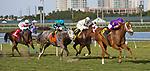 HALLANDALE BEACH, FL - JANUARY 27: Rainbow Heir #6, with Irad Ortiz Jr. riding, wins the Gulfstream Park Turf Sprint Stakes on Pegasus World Cup Invitational Day at Gulfstream Park Race Track on January 27, 2018 in Hallandale Beach, Florida. (Photo by Liz Lamont/Eclipse Sportswire/Getty Images)