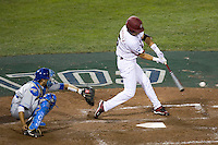 South Carolina OF Whit Merrifield connects during Game Two of the NCAA Division One Men's College World Series Finals on June 29th, 2010 at Johnny Rosenblatt Stadium in Omaha, Nebraska.  (Photo by Andrew Woolley / Four Seam Images)