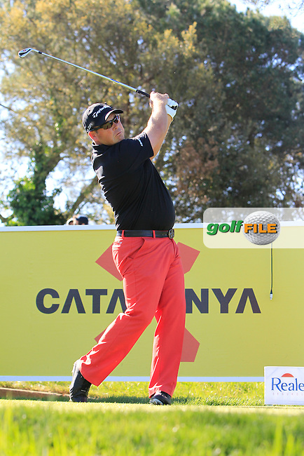Justin Walters (RSA) on the 13th tee during Thursday's Round 1 of The Open De Espana at The PGA Catalunya Resort. 15th May 2014.<br /> Picture:  Thos Caffrey / www.golffile.ie