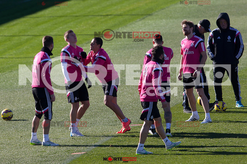 Toni Kroos, Chicharito, Jesse, Nacho, Illarramendi, Sergio Ramos and Carvajal  during a sesion training at Real Madrid City in Madrid. January 23, 2015. (ALTERPHOTOS/Caro Marin) /NortePhoto<br /> NortePhoto.com