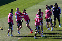 Toni Kroos, Chicharito, Jesse, Nacho, Illarramendi, Sergio Ramos and Carvajal  during a sesion training at Real Madrid City in Madrid. January 23, 2015. (ALTERPHOTOS/Caro Marin) /NortePhoto<br />