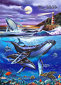 Interlitho, Lorenzo, REALISTIC ANIMALS, paintings, whales, lighthouse(KL3839,#A#) realistische Tiere, realista, illustrations, pinturas ,puzzles