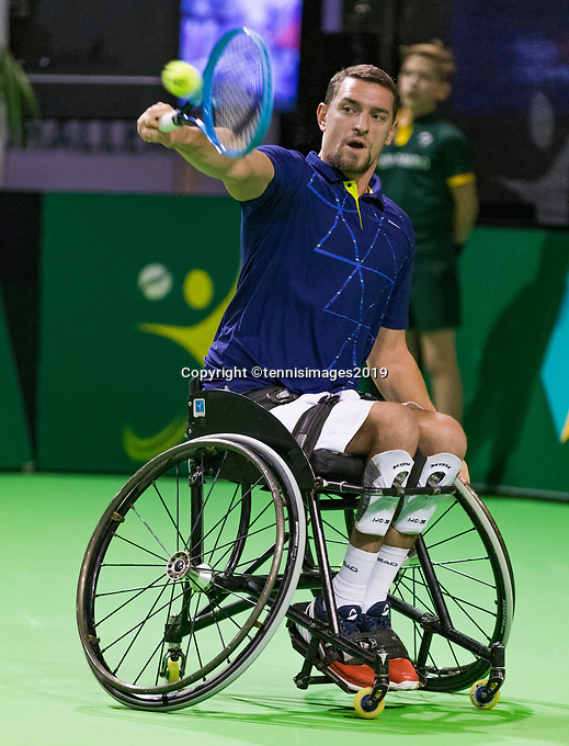 Rotterdam, The Netherlands, 14 Februari 2019, ABNAMRO World Tennis Tournament, Ahoy, Wheelchair, doubles, Joachim Gerard (BEL),<br /> Photo: www.tennisimages.com/Henk Koster