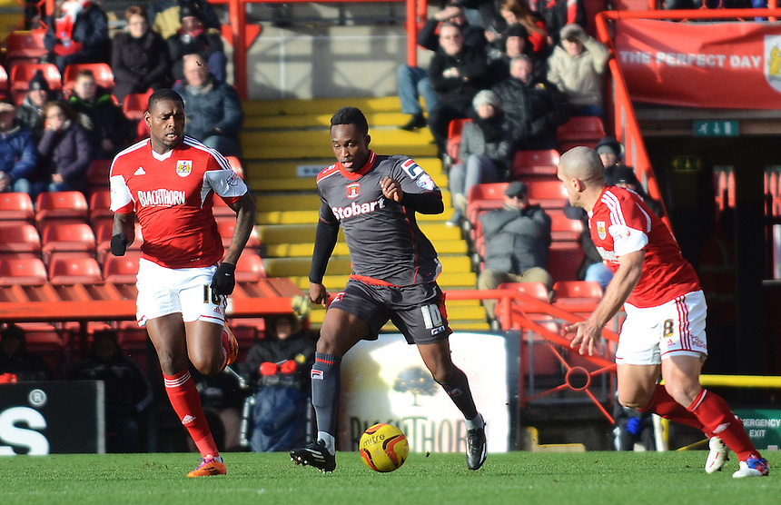 Carlisle United's Charni Ekangamene in action during todays match  <br /> <br /> Photo by Kevin Barnes/CameraSport<br /> <br /> Football - The Football League Sky Bet League One - Bristol City v Carlisle United - Saturday 1st February 2014 - Ashton Gate - Bristol<br /> <br /> &copy; CameraSport - 43 Linden Ave. Countesthorpe. Leicester. England. LE8 5PG - Tel: +44 (0) 116 277 4147 - admin@camerasport.com - www.camerasport.com