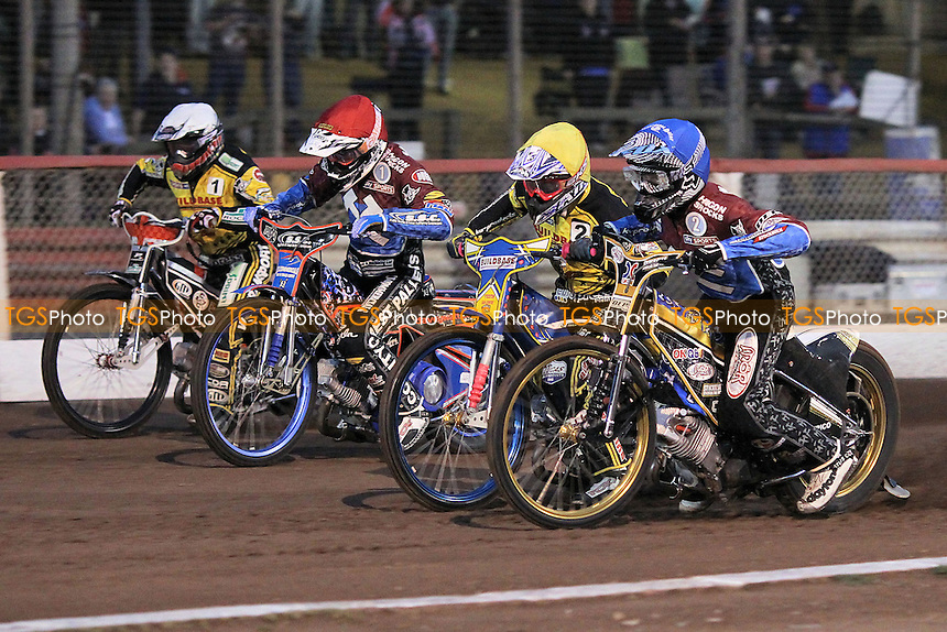 Heat 1: Davey Watt (red), Kim Nilsson (blue), Chris Harris (white) and Aaron Summers  - Lakeside Hammers vs Coventry Bees - Sky Sports Elite League Speedway at Arena Essex Raceway, Purfleet - 10/09/12 - MANDATORY CREDIT: Gavin Ellis/TGSPHOTO - Self billing applies where appropriate - 0845 094 6026 - contact@tgsphoto.co.uk - NO UNPAID USE.