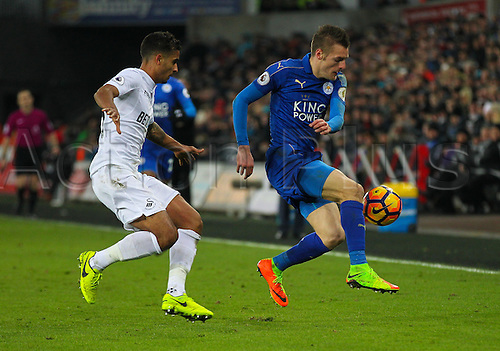 February 12th 2017, Liberty Stadium, Swansea, Wales; Premier league football, Swansea versus Leicester City; Leicester City's Jamie Vardy controls the ball while under pressure from Swansea City's Kyle Naughton