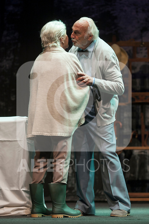 Spanish actress Lola Herrera and Argentinian actor Hector Alterio perform during `El lago dorado´ theater play in Madrid, Spain. August 17, 2015. (ALTERPHOTOS/Victor Blanco)