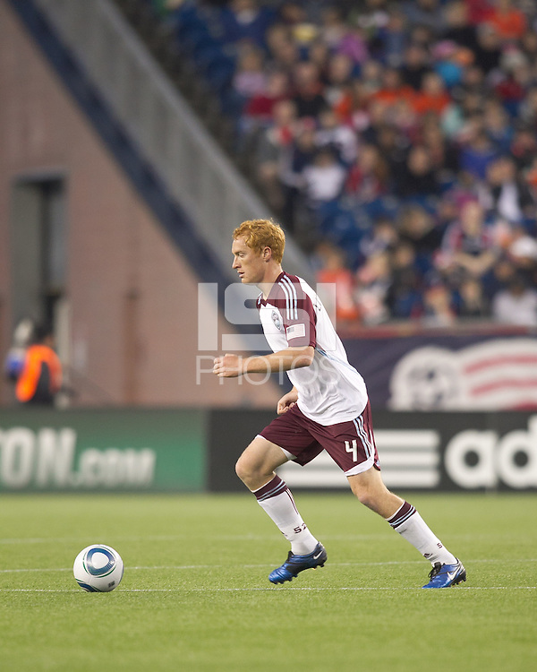 Colorado Rapids midfielder Jeff Larentowicz (4) at midfield. In a Major League Soccer (MLS) match, the New England Revolution tied the Colorado Rapids, 0-0, at Gillette Stadium on May 7, 2011.