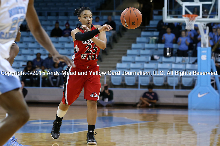 13 November 2015: Gardner-Webb's Alexus Hill. The University of North Carolina Tar Heels hosted the Gardner-Webb University Runnin' Bulldogs at Carmichael Arena in Chapel Hill, North Carolina in a 2015-16 NCAA Division I Women's Basketball game. Gardner-Webb won the game 66-65.