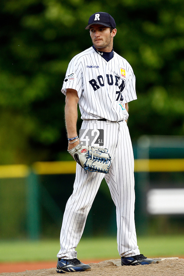15 July 2011: Starting pitcher Joris Bert of the Rouen Huskies pitches against the Senart Templiers during the 2011 Challenge de France match won 6-5 by the Rouen Huskies over the Senart Templiers at Stade Pierre Rolland, in Rouen, France.