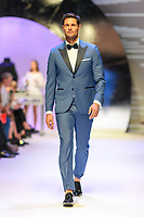 MELBOURNE - September 5, 2019: A model wearing Joe Black walks at the Town Hall Runway 7 show during Melbourne Fashion Week in Melbourne, Australia. Photo Sydney Low