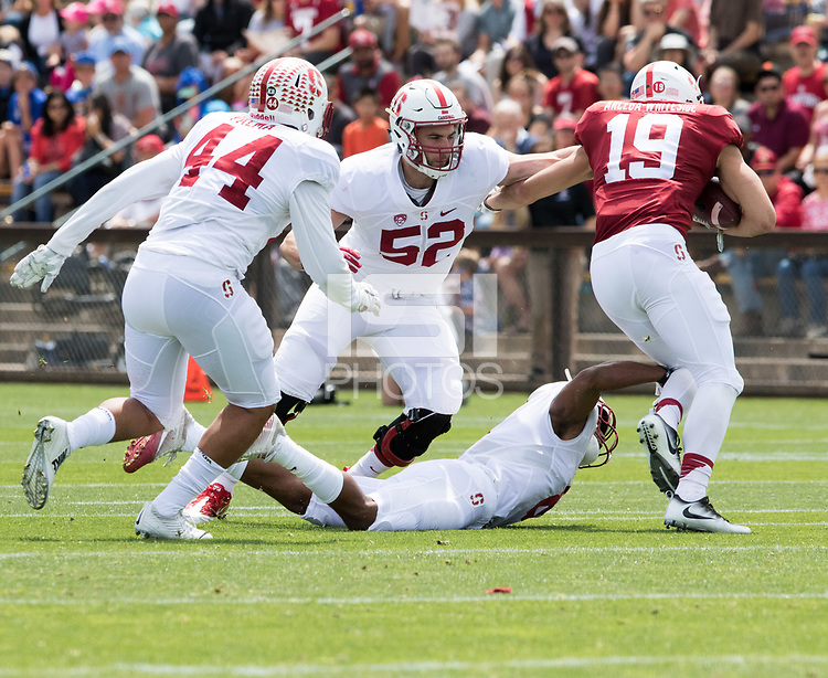 Stanford, CA - April15, 2017:  Kevin Palma (44) Casey Toohill (52) Jack Richardson (19) at Cagan Stadium.