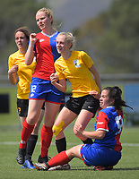 Action from the National Women's League football match between Capital and WaiBoP at Petone Memorial Park in Petone, New Zealand on Monday, 28 Octoberber 2019. Photo: Dave Lintott / lintottphoto.co.nz