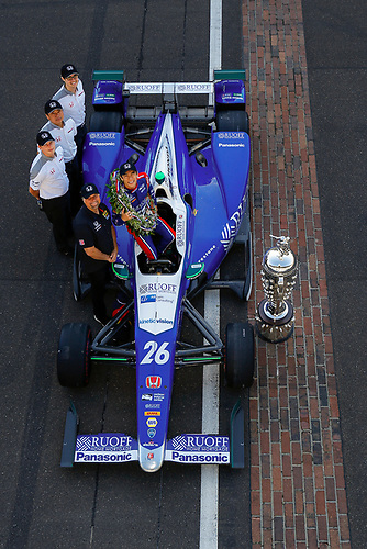 Verizon IndyCar Series<br /> Indianapolis 500 Winner Portrait<br /> Indianapolis Motor Speedway, Indianapolis, IN USA<br /> Monday 29 May 2017<br /> Takuma Sato, Andretti Autosport Honda<br /> World Copyright: Jake Galstad<br /> LAT Images