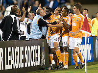13 September 2008: Brian Ching of the Dynamo celebrates with the teammates and coaches after Ching scored a goal during the second half of the game against the Earthquakes at Buck Shaw Stadium in Santa Clara, California.   San Jose Earthquakes tied Houston Dynamo, 1-1.