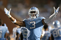 CHAPEL HILL, NC - SEPTEMBER 07: Dominique Ross #3 of the University of North Carolina encourages the fans during a game between University of Miami and University of North Carolina at Kenan Memorial Stadium on September 07, 2019 in Chapel Hill, North Carolina.