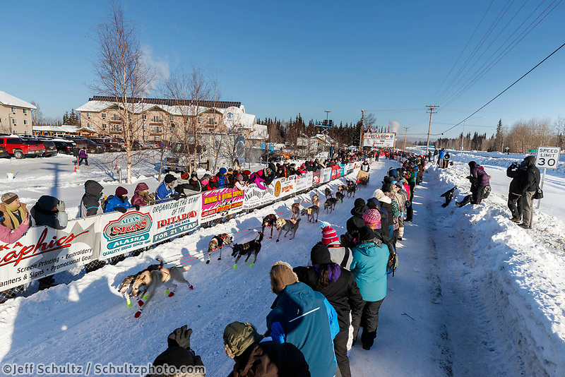 Laura Neese leaves the re-start line of the 2017 Iditarod in Fairbanks, Alaska at Pike's Landing on Monday March 6, 2017.<br /> <br /> Photo by Jeff Schultz/SchultzPhoto.com  (C) 2017  ALL RIGHTS RESVERVED