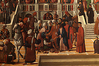 Detail from San Marco Risana Aniano, or St Mark healing the cobbler Anianus, 1497-99, Renaissance painting by Giovanni Mansueti, 1465-1527, in the Gallerie dell'Accademia, Venice, Italy. The painting tells the story of the shoemaker Anianus, who injured himself making shoes for the saint, was miraculously healed, converted to christianity and was baptised by St Mark. This was 1 of 3 paintings completed by Mansueti for the Scuola Grande di San Marco. Picture by Manuel Cohen